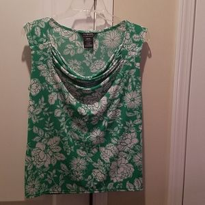 George green and white flower sleeveless top